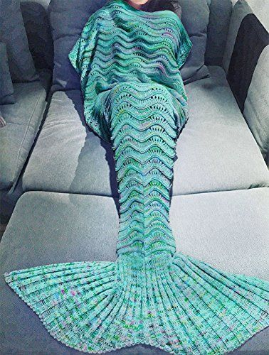 Cunada Handcrafted Green Chic Crochet Mermaid Tail Blanket Sleeping Bags for Adults ** Visit the affiliate link Amazon.com on image for more details.