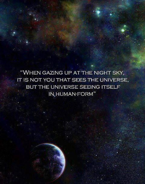 When you gaze up at the universe, it is not you seeing the universe, but the universe seeing itself in human form..*