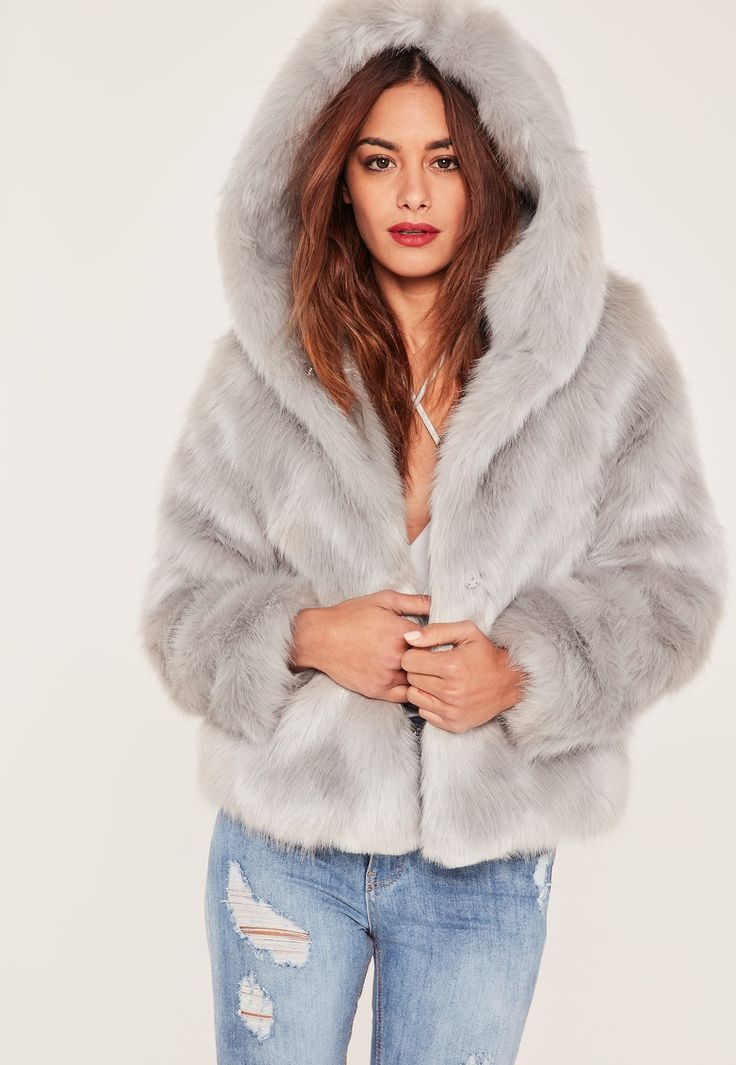 Missguided - Caroline Receveur Grey Hooded Faux Fur Coat
