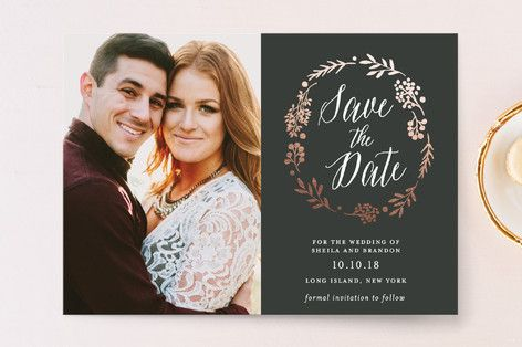 """Rustic Modern Floral"" - Rustic Save The Date Cards in Mocha by Gray Star Design."