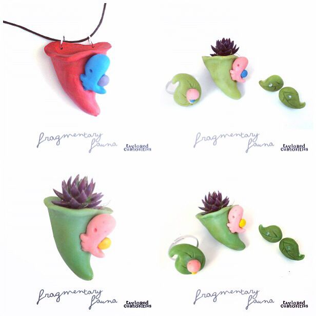 £20.00  Life Cycle Jewellery depicts the life cycle of a Spriggledop.  Hand sculpted, cast and painted; these pendant planters have a small amount of damp sphagnum moss and a tiny succulent plant. This is a live plant (their roots will take anywhere, so you can re-plant this once it outgrows it's planter).  Okemordyn and all its inhabitants design, story and images are fully copyright protected. © Taylored Curiosities