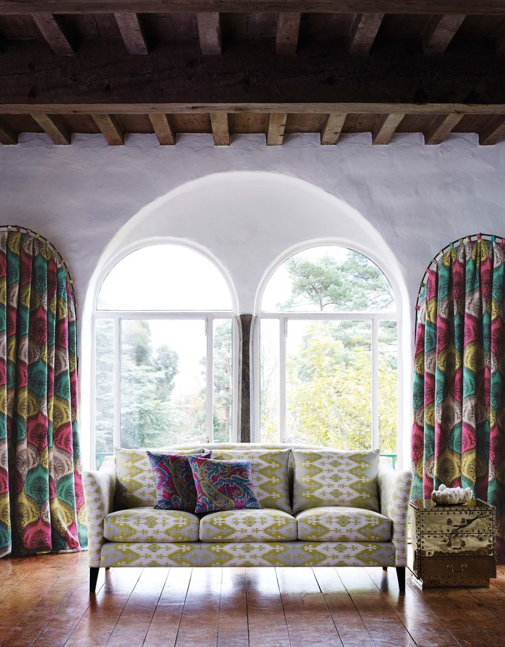 Colourful patterned fabric by @matthewwilliamson for @osbornelittle - available now from Rodgers of York #curtain #lounge #sofa