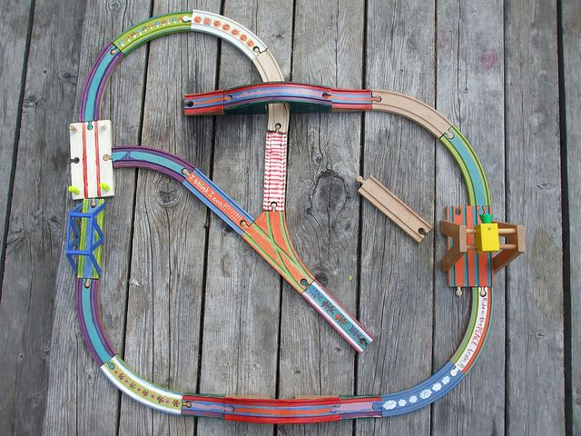 painted wooden train tracks