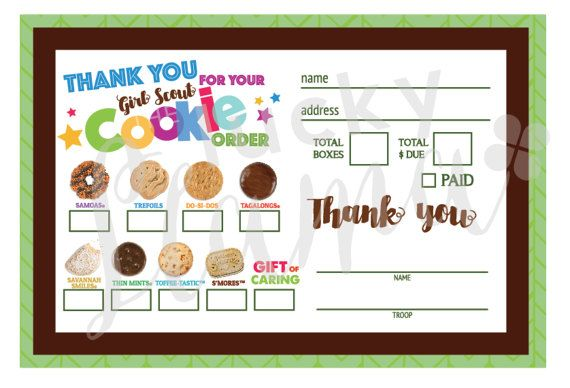 2018 Mini Girl Scout Cookie Order Form with Gift of Caring