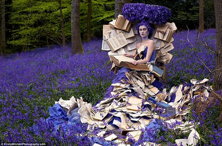 The Storyteller: a reference to Kirsten's mother, a model on a carpet of bluebells enveloped by books