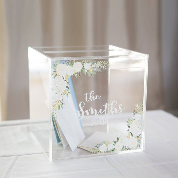 Card Box For Wedding Clear Acrylic LARGE Personalized
