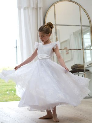 Couture Nicki Macfarlane - Vintage Style Silk Lace Ballerina Length Communion Dress Full Circle Skirt - Grace - Royal Design