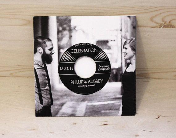 retro vintage record wedding invitation