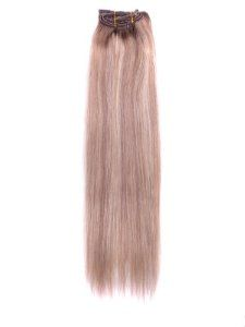 """20"""" 7 Piece Silky Straight Clip in Human Hair Extension - F12/613 by Abhair. $49.98. 20"""" 7 Piece Silky Straight Clip In Human Hair Extension - F12/613. """"Silky Straight Clip In Extension made of superior hair that colors beautifully and matches the highlights and natural shading of your own hair. Machine stitched, hi-quality, silky straight human hair with an overall length of 20 inches.  Each set consists of 7 pieces in varying weft widths(1pc-8"""""""" wide,  2pc-6""""..."""