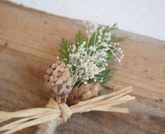 Wedding Boutonniere groomsmen button hole winter wedding