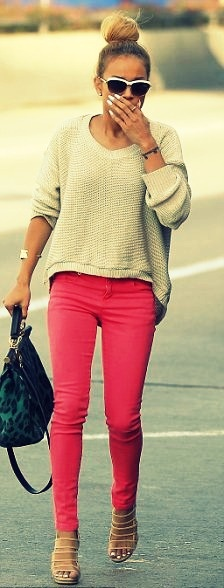 colored denim, nuetral knitNeon Pants, Comfy Sweaters, Pink Colors Pants, Red Jeans, Colors Jeans, Pink Pants, Hot Pink, Pink Jeans, Red Pants