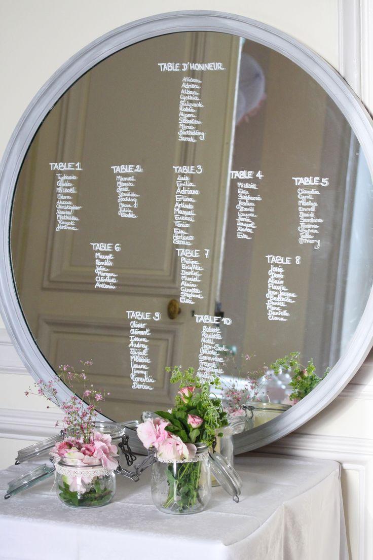 Mariage pastel plan de table miroir mariage alison for Centre de table vert anis