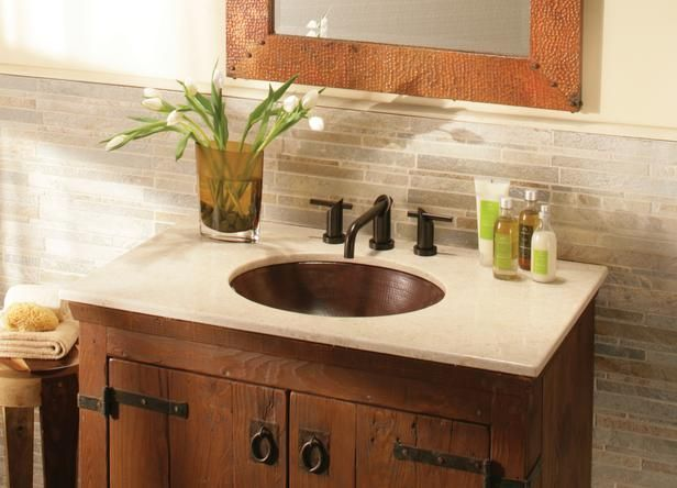 Small retro Bath Vanities   Vintage bathroom vanities can add style and efficiency to your bath ...this one had more durable counters...@Crystal Haitsma