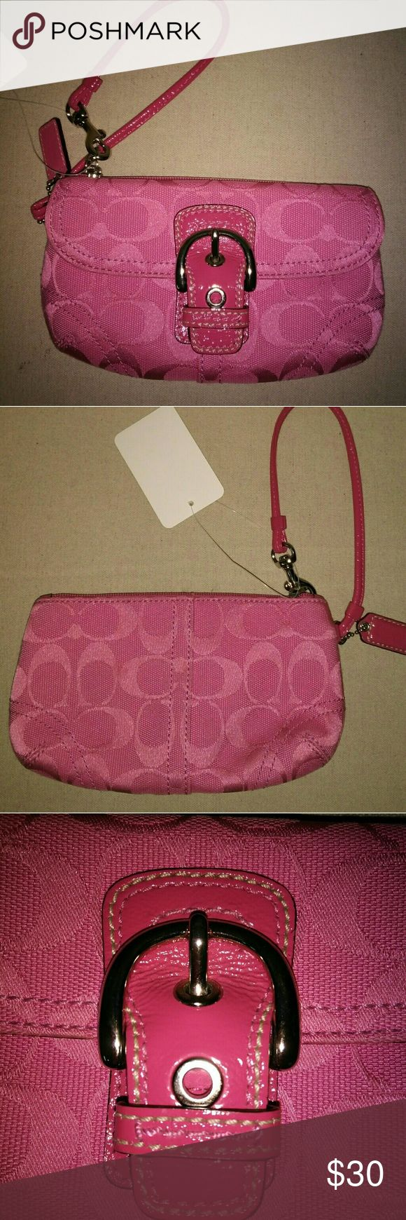 Lipstick Pink Authentic Coach Clutch/ Wristlet Great condition... Small coach clutch in a lipstick pink color... Excellent condition... Barely used... No stains or noticeable wear... Used 1-2x Coach Bags Clutches & Wristlets