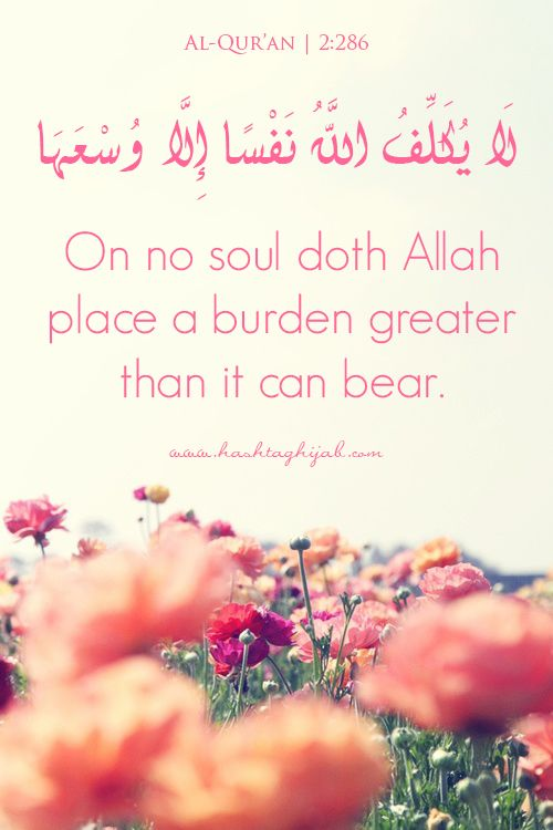Islamic Daily: On no soul doth Allah Place a burden greater than it can bear. | Hashtag Hijab © www.hashtaghijab.com