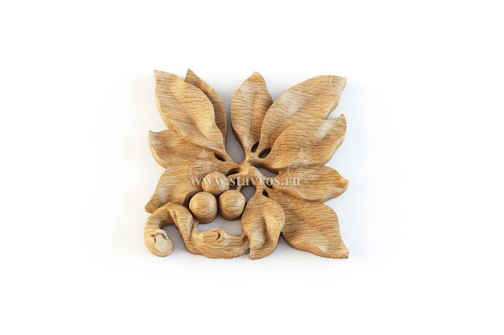 Резной накладной элемент из дерева в стиле Модерн. Carved element from the wood in the art Nouveau style.