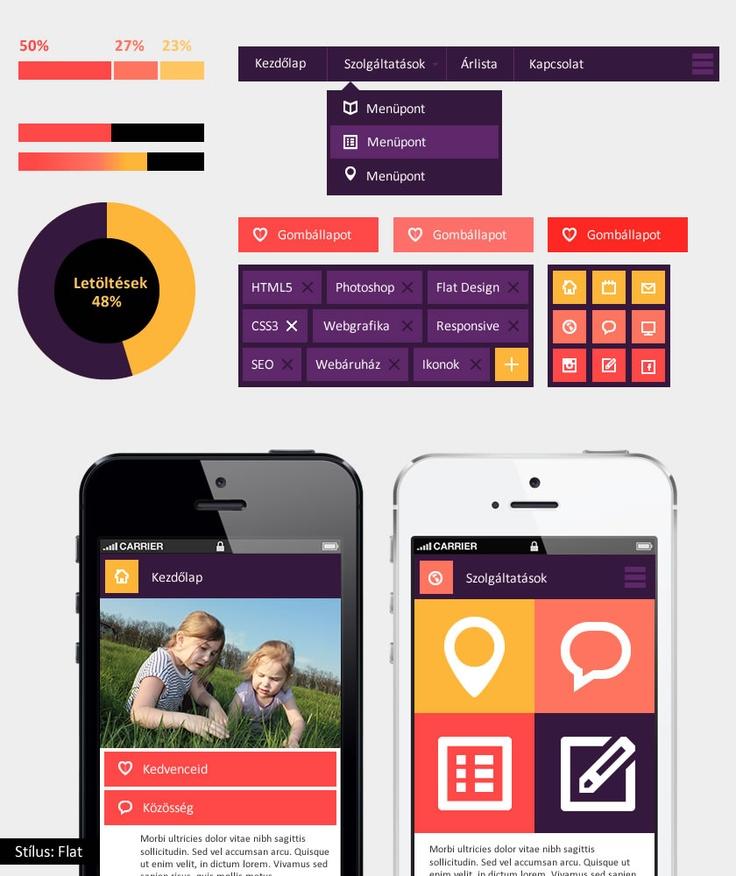 Flat UI kit - bemutató készlet. A tutorial megvásárolható május 9-től a magui.hu oldalon.  Ikonok: Victor Erixon - http://dribbble.com/shots/885207-44-Shades-of-Free-Icons?list=users