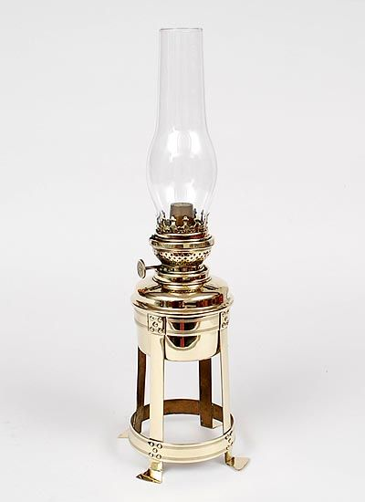 Found on www.botterweg.com - Brass Nieuwe Kunst lampstand small with oil reservoir shade is missing design execution by Jan Eisenloeffel 1876-1957 the Netherlands ca.1905