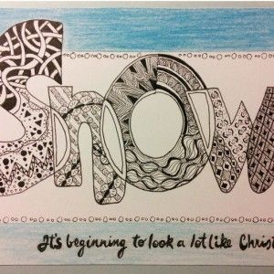 Snow zentangle art card. Zana's Cards measure 7.2″ x 5.2″, or 18cm x 13cm.They also include an envelope for you to use to send your cards. #christmaszentangle #snowzentangle #zentanglecard #zentangleart #zanascards www.zanascards.com