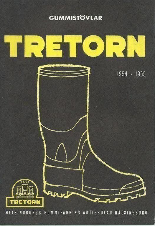 Reklam för TRETORN Gummistövlar 1954-55
