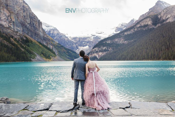 Fairmont Chateau Lake Louise wedding with gorgeous pink wedding dress!