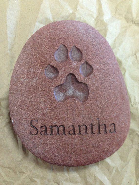 Pet paw prints engraved in stone 100% hand by StonePrintsDesign