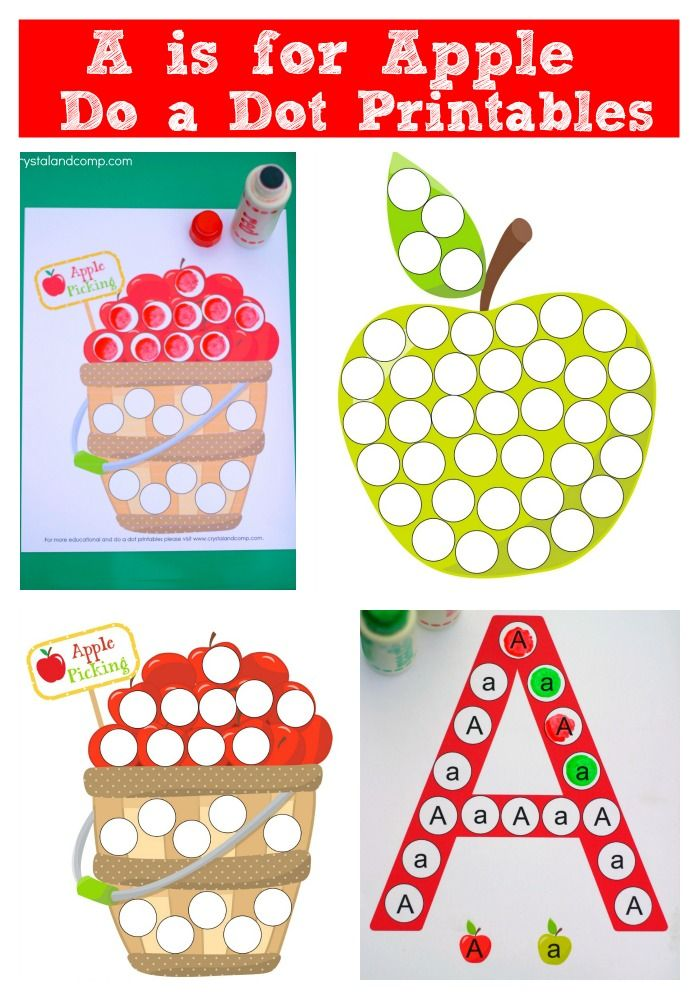 Kinder Garden: A Is For Apple Do A Dot Printables