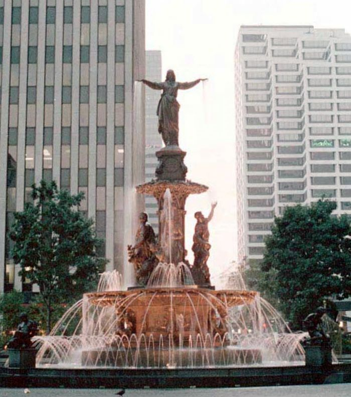 Tyler Davidson Fountain (1871) - Fountain Square - Cincinnati, OH - A bronze allegorical fountain from Ferdinand von Miller named The Genius of Water that symbolizes the uses of water, both natural and man-made.