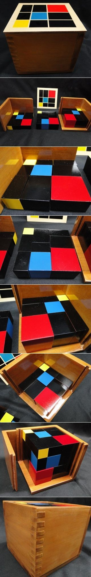 Trinomial Cubes The Trinomial Cube is a concrete representation of the algebraic formula (a + b + c)3. The factors of the equation are represented by cubes and prisms. The elementary Montessori child uses the Trinomial Cube as an activity of algebraic exploration. Contained in a wooden box with lid, with two sides that lift out.