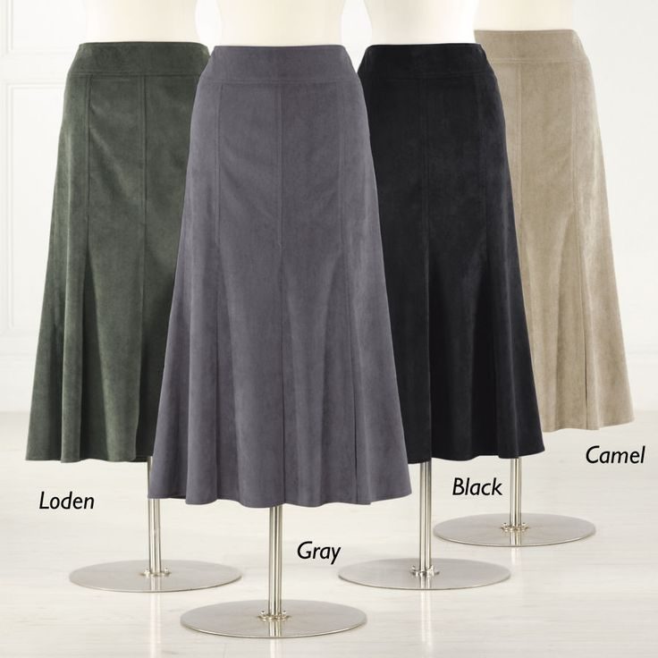 "Stretch Corduroy Boot Skirt - Paneled A-line style in silky-soft pinwale corduroy is universally flattering. Comfortable wide waistband and side zipper. Polyester/ nylon/spandex. Machine wash. Imported. Gray, Loden, Black, or Camel. 34"" long."