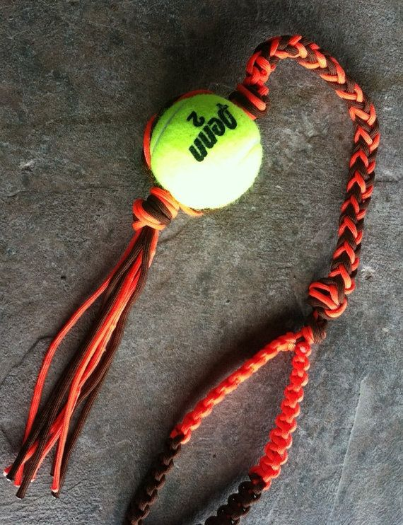 Paracord Braided Dog Toy WIth Tennis Ball by SimpleLoops on Etsy, $10.00