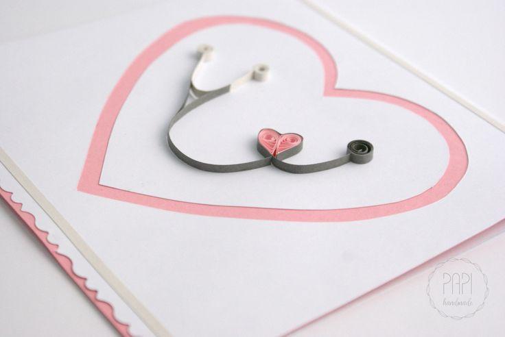 Kartka ze stetoskopem i serduszkiem   Kartki ręcznie robione, zaproszenia ślubne handmade Poznań