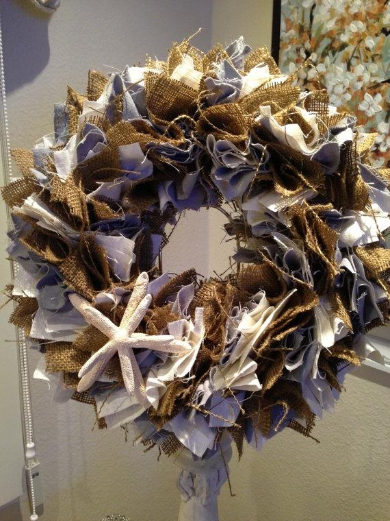 Shabby Chic Burlap Blue & White Linen Starfish by PurrtyNeatStuff, $59.95
