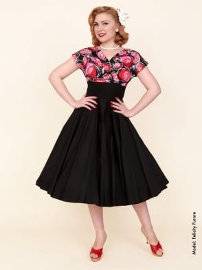 40s-1940s-Vivien-of-Holloway-Best-Vintage-Reproduction-Grace-Wrap-Circle-Dress-Red-Black-Rose-Floral-Hollywood-Swing-Pinup