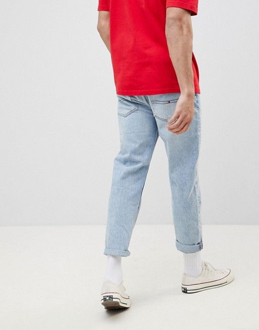 0bd853686 Tommy Jeans 90s Sailing Capsule Cropped Tapered Dad Jeans in Light Wash