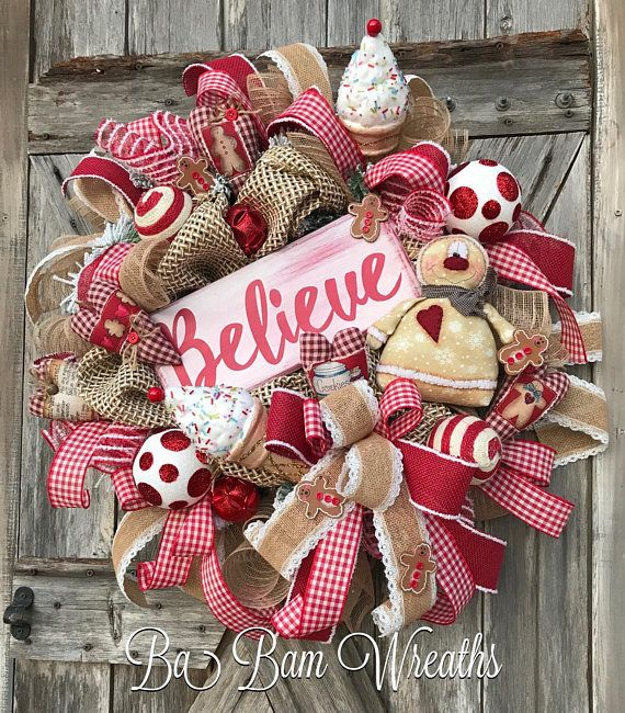 Believe, Christmas Wreath, Gingerbread Wreath, Gingerbread Decor, Holiday Wreath BELIEVE ☃️❤️☃️ Greet the season with this XL beauty featuring the CUTEST Gingerbread (made by a very talented artist and featuring a beautiful Believe sign! Checkered ribbons, ornaments, Christmas sprays