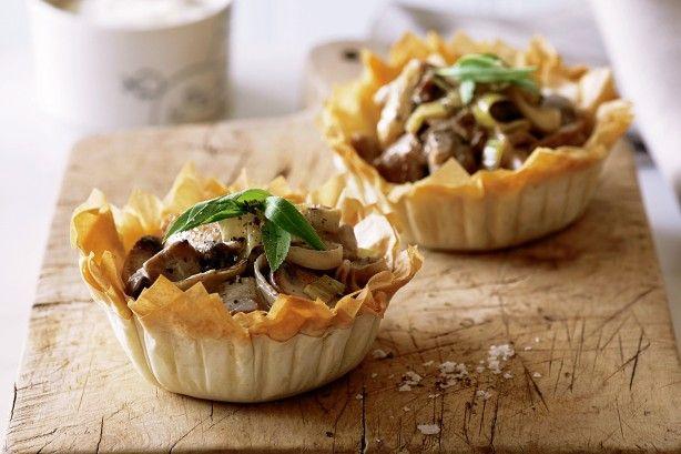 Leek, mushroom and chicken pies main image
