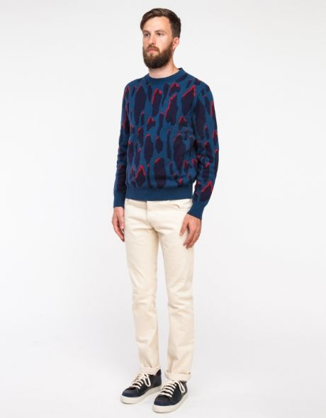 Shop this look for $130:  http://lookastic.com/men/looks/navy-leopard-crew-neck-sweater-and-beige-chinos-and-navy-leather-low-top-sneakers/3182  — Navy Leopard Crew-neck Sweater  — Beige Chinos  — Navy Leather Low Top Sneakers