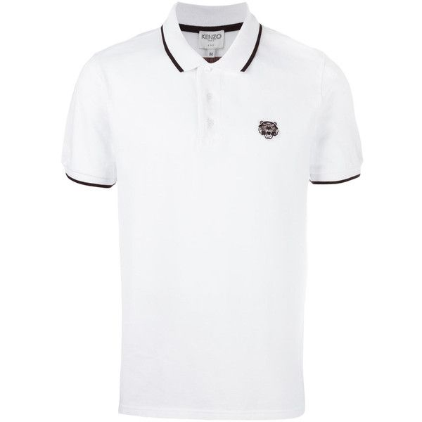 Kenzo Tiger Logo Cotton Polo Shirt ($140) ❤ liked on Polyvore featuring men's fashion, men's clothing, men's shirts, men's polos, white, mens white polo shirt, mens short sleeve polo shirts, mens polo shirts, mens white short sleeve shirt and mens white shirts