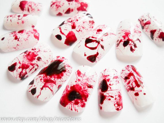 Dexter Blood Splatter Fake Nails by niceclaws on Etsy, $14.92