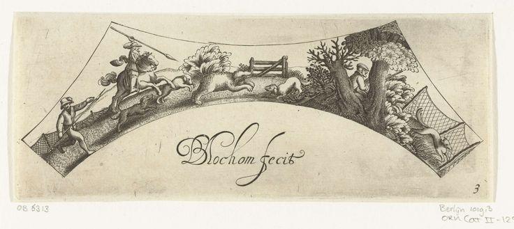 Bartholomeus van Lochom | Berenjacht, Bartholomeus van Lochom, Claes Jansz. Visscher (II), c. 1630 | Twee jagers en drie honden achtervolgen een beer. Achter een boom zit een derde jager vlakbij een net.