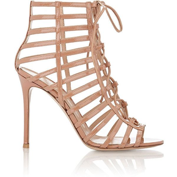 Gianvito Rossi Women's Caged Lace-Up Sandals (4.230 NOK) ❤ liked on Polyvore featuring shoes, sandals, beige, lace up stilettos, high heeled footwear, beige sandals, open toe high heel sandals and beige shoes