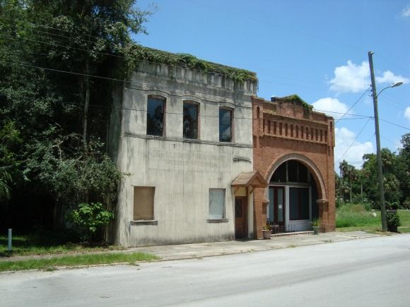 Old buildings in downtown Webster, Florida across the road from the Webster Flea Markets.