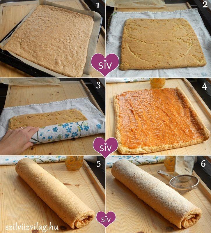 Piskótatekercs elkészítése képekben - Diétás sütemény