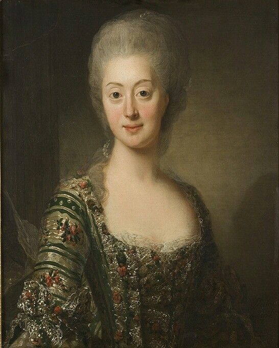 Sofia Magdalena 1746-1813, prinsessa av Danmark, drottning av Sverige, gift med Gustav III, 1774.  Olja på duk, Nationalmuseum.