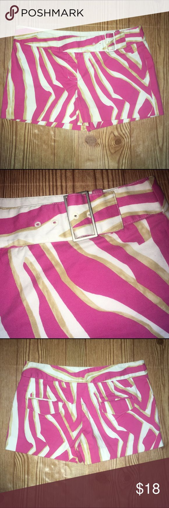 Express size 2 zebra print shorts with belt Express size 2 zebra print shorts with belt. Pink, gold and white colored print. Has belt attached to the waist. 96% cotton and 4% spandex. Measurements in pictures. No trades, offers welcome! Express Shorts
