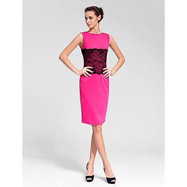 Sheath/Column Bateau Knee-length Polyester Semi-Formal Dress – USD $ 19.99
