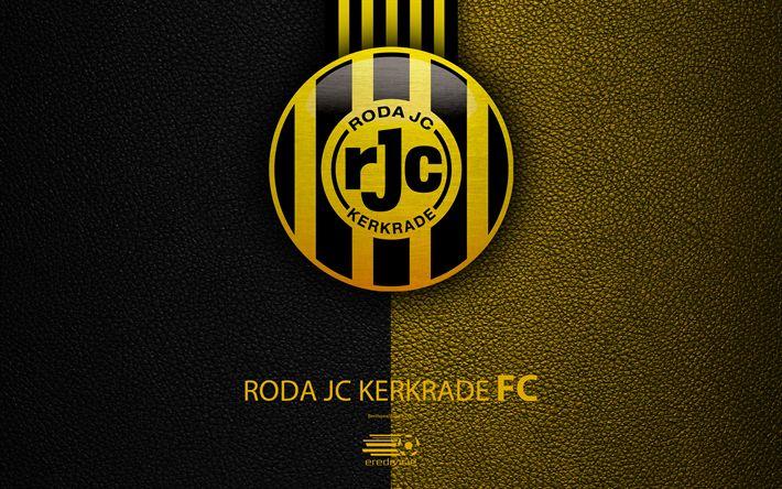Download wallpapers Roda JC Kerkrade FC, 4K, Dutch football club, leather texture, logo, emblem, Eredivisie, Kerkrade, Netherlands, football, Dutch Football Championship