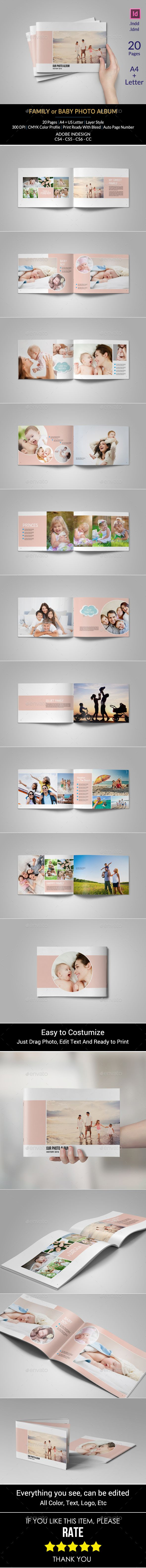 Family Or Baby Photo Album Template InDesign INDD. Download here: http://graphicriver.net/item/family-or-baby-photo-album/15648674?ref=ksioks