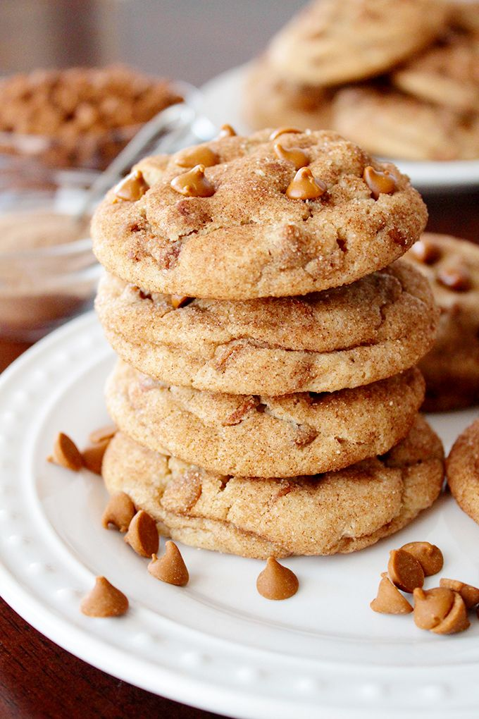 Incredibly soft, melt-in-your-mouth snickerdoodle cookies, stuffed with cinnamon chips! Sunnysideups.org